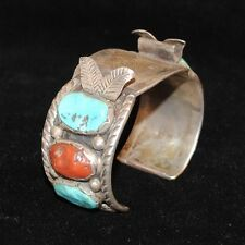 Navajo Watch Cuff, Sterling Silver, Turquoise & Coral, Old Pawn/Estate