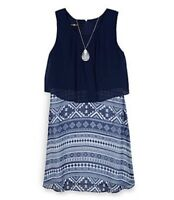 NWT AMY BYER GIRLS TRIBAL PRINT POPOVER DRESS WITH NECKLACE SIZE 8 ~ MSRP $54.00