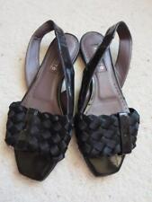 Kalliste Slingback Black Patent Leather Flats Sandals Sz. 37 / 6