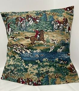 Vintage Fox Hunting Horse Pillow Cover decorative pillow handmade 16x16