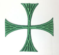 """Vintage Square Cross Embroidered Sew-on Green A 5""""1/2 Emblem Patch 2 Pcs"""