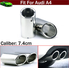 2 x Silver Tailpipe Trims Exhaust Muffler Tail Pipe Tip for Audi A4 B8 2009-2021