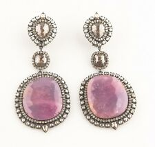 18k Gold Rhodium Oxidized Ruby with Single & Rose Cut Diamond Dangle Earrings