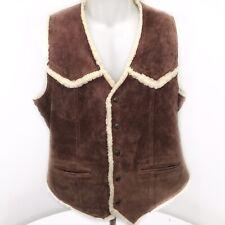 Vintage 90s Leather Barn Ranch Rancher Cowboy Sherpa Vest Mens XL Boho Hipster