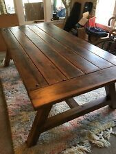 FARMHOUSE DINING TABLE SEATS 8 PEOPLE- Douglas Fir Table Top & Cedar Legs