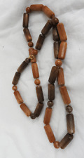 Vintage Beaded Wood Effect Necklace c 1960s
