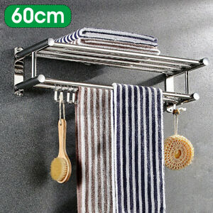 Wall Mounted Towel Rack Bathroom Hotel Rail Holder Storage Shelf Stainless 2Tier