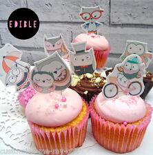 8 x Owl Retro Edible Pop Top cake cupcake decorations | Birthday | Baking