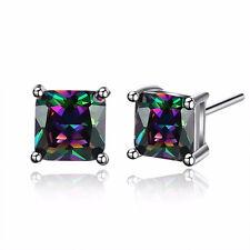 18K White Gold Plt Mystic Rainbow Topaz Square Stud Earrings Ladies Girls Gift