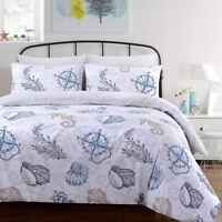 Seafarer Nautical Beach Sea Shells Soft 100%Cotton Quilt Duvet Cover Bedding Set