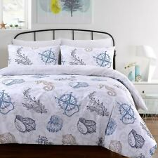 Seafarer Nautical Beach Sea Shells Soft 100%Cotton Quilt Duvet Cover Bedding Set
