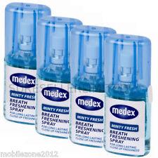 4 X Medex De 20ml Minty aliento fresco ambientador Boca Spray mal aliento de larga duración