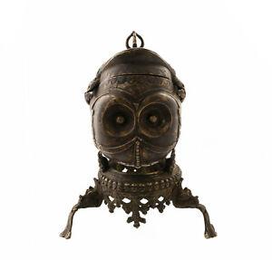 """Antiguo Kapala Tibetana 25cm-9"""" 8 Copa Ritual Budista Bronce Skull Cup 2938"""