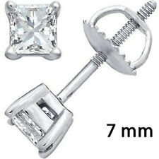 SCREWBACK 925 STERLING SILVER CZ STUD EARRINGS SQUARE