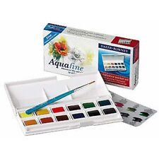 Daler Rowney Aquafine Watercolour Pocket Set - 12 Half Pans with Brush