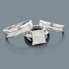 Echtschmuck Ringe Diamanten 925er Sterlingsilber  Brillanten Damenring 3 Ringe