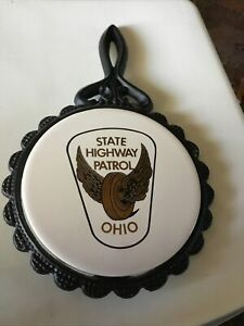 Ohio State Police Highway Patrol Trivet In Black And White