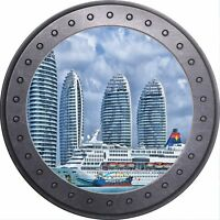 3D Brick Crack View Dubai Cruise Ship Wall Sticker Poster M6-522