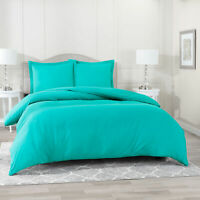 Duvet Cover Set Soft Brushed Comforter Cover W/Pillow Sham, Teal - Cal King