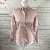 NWT Lands End Women's Pink Size 4P Plaid Cotton Blend Long Sleeve No Iron Shirt