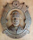 Rare fine mold of ANTIQUE General Robert E Lee Cast Iron Bust Plaque Civil War