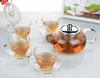 Tea Set - 625ml Heat Resistant Glass FY Teapot +4x Sets of Tea Cups & Saucers