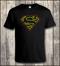 SUPERMAN INSIGNIA NEON SIGN STYLE T SHIRT All Sizes to 5XL