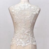 Large Wedding Dress Back Wide Lace Applique Floral Embroidered Motif Trim 50CM