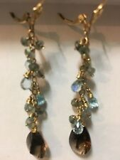 14k Leverback GF Blue Topaz,smoky Quartz Gemstone Briolette Earrings