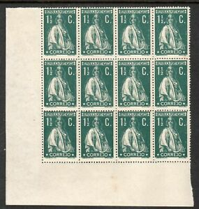Portugal 1917 Ceres 1 1/2 C. Green Cliché Variety Block of 12 MNH