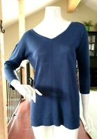 Chico's Blue Criss Cross Open Back 3/4 Sleeve Tunic Top NWOT Sz 0 Small