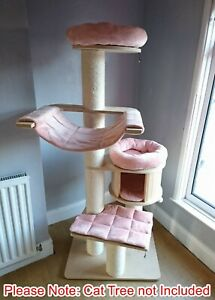 Handmade SALMON PEACH Removable Cat Bed Replacement Set for Natural Paradise XL