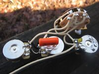 Strat Wiring Harness 250k CTS Pots Oak 5/w Orange Drop .047 KellingSound