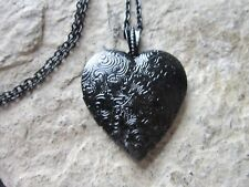 BLACK HEART LOCKET - ANTIQUE LOOK - HANDMADE - CHIC - MOURNING - GOTH - GOTHIC