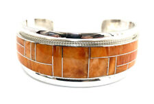 Native American Sterling Silver Zuni Spiny Oyster Inlay Cuff Bracelet