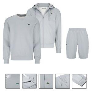 Men's Lacoste Poly Fleece Shorts Set Co-ord Outfit Hoodie Sweatshirt Grey