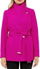 NWOT Ted Baker Deep Two tone Pink Elethea Short Wrap Collar Coat Size 1 (US 4)
