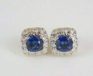 Gold Over 925 Sterling Silver Sapphire Earrings