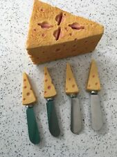 Set Of 4 Novelty Cheese Knives And Holder