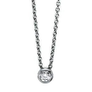 Necklace Solitary From 750 White Gold Length: 42,0cm With Brilliant 0,25ct Tw-Si