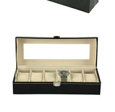 Faux Leather Jewelry Collection Storage Black 6-grid Watch Display Box Show Case