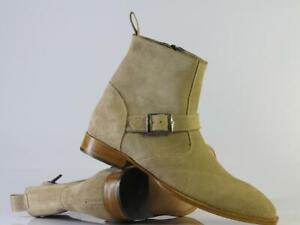Handmade Men Jodhpurs Beige Suede Shoes, Men Buckle & Zipper Ankle High Boots