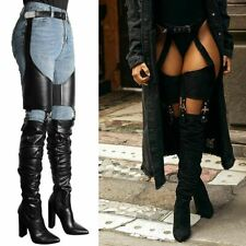 Womens Ladies Thigh High Boots Stirrup Belted Block High Heels Sexy Shoes Size