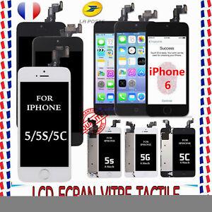 COMPLET POUR IPHONE 5S 5C 5 6 LCD ECRAN+VITRE TACTILE + HOME BOUTON SUR CHASSIS