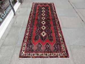 Vintage Traditional Hand Made Oriental Blue Red Wool Long Rug 257x98cm