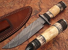 Custom Made Damascus Steel Hunting Knife w/ Giraffe & Camel Bone Handle
