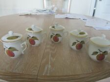 ROYAL WORCESTER EVESHAM CHOCOLATE POTS AND LIDS X 5