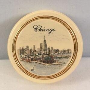 Vintage Barlow Scrimshaw Chicago Skyline Round Paperweight With Label USA