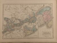 1854 CANADA LARGE HAND COLOURED ANTIQUE MAP 165 YEARS OLD BY SIDNEY HALL