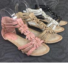 Damen Sandalen Keilabsatz Blumen Sandaletten Glitzer Nieten Riemchen ST98 neu